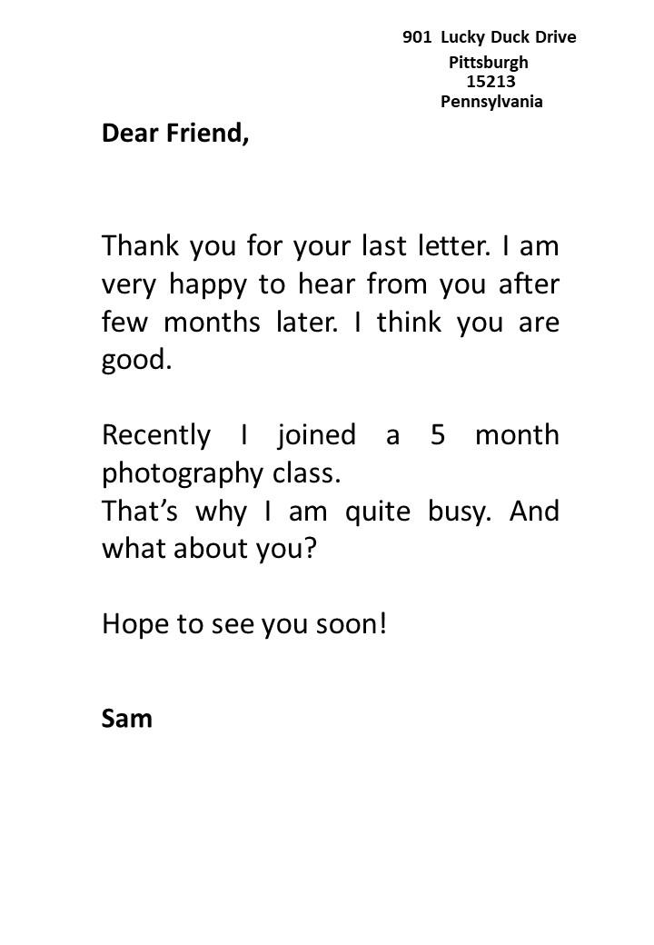 Informal Letter Sample