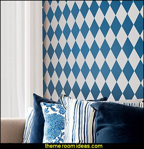 Harlequin Pattern Wall Stencils  Harlequin decor - diamond design  - Harlequin pattern decorating - diamond pattern decor - harlequin stencils - Geometric wall stencils - Harlequin Furniture Stencil  -  Harlequin wallpaper -