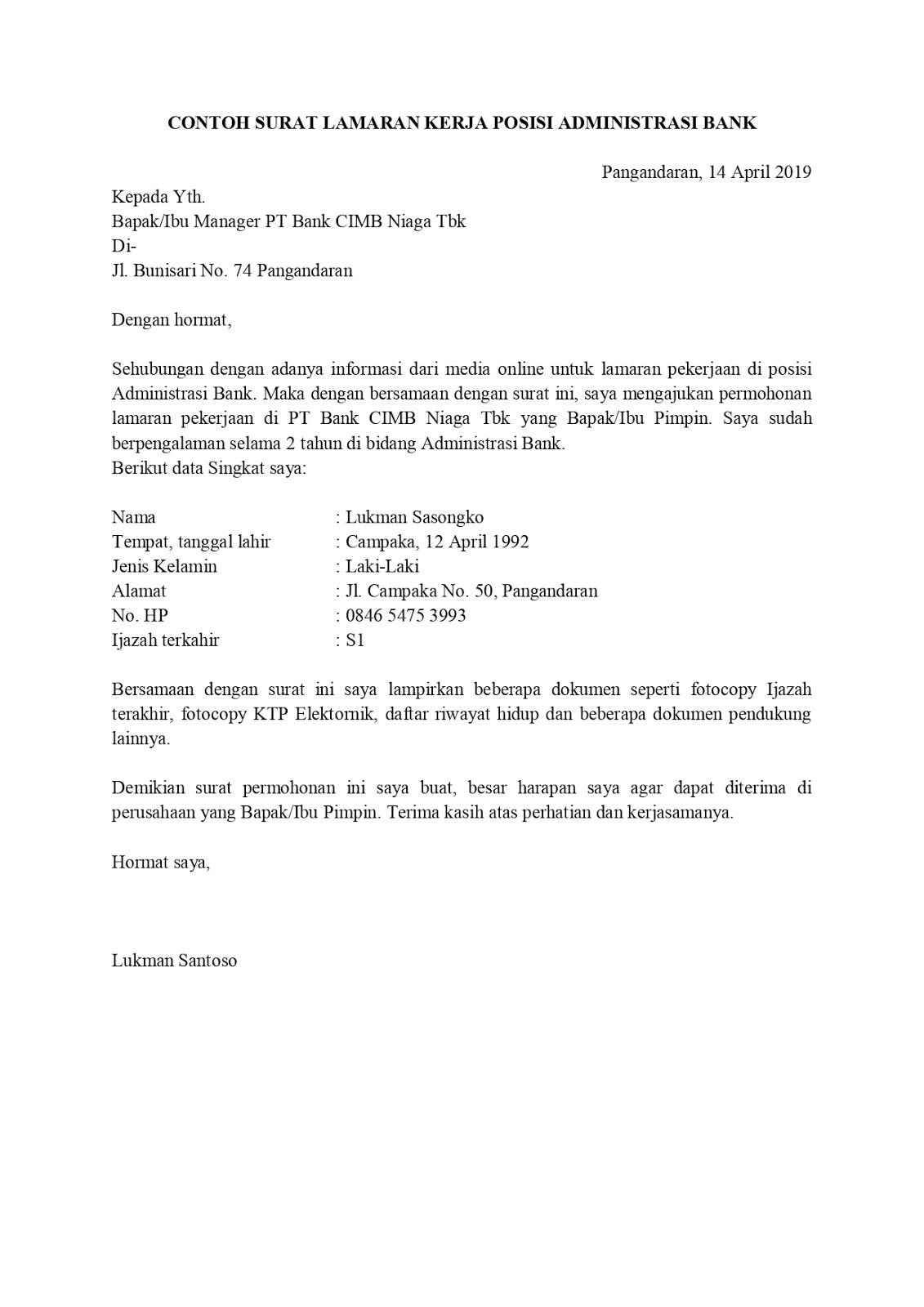 Contoh Surat Lamaran Kerja Untuk Bank Tanpakoma