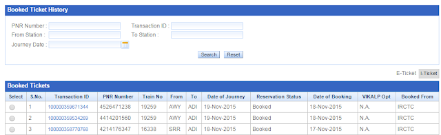 booked ticket history