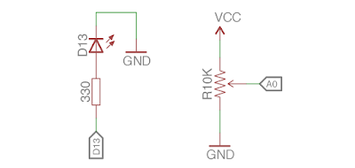 rangkaian arduino potensiometer