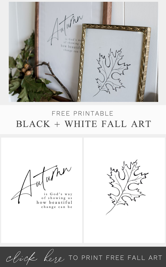 Download this pair of black and white minimal style printables for fall decor.