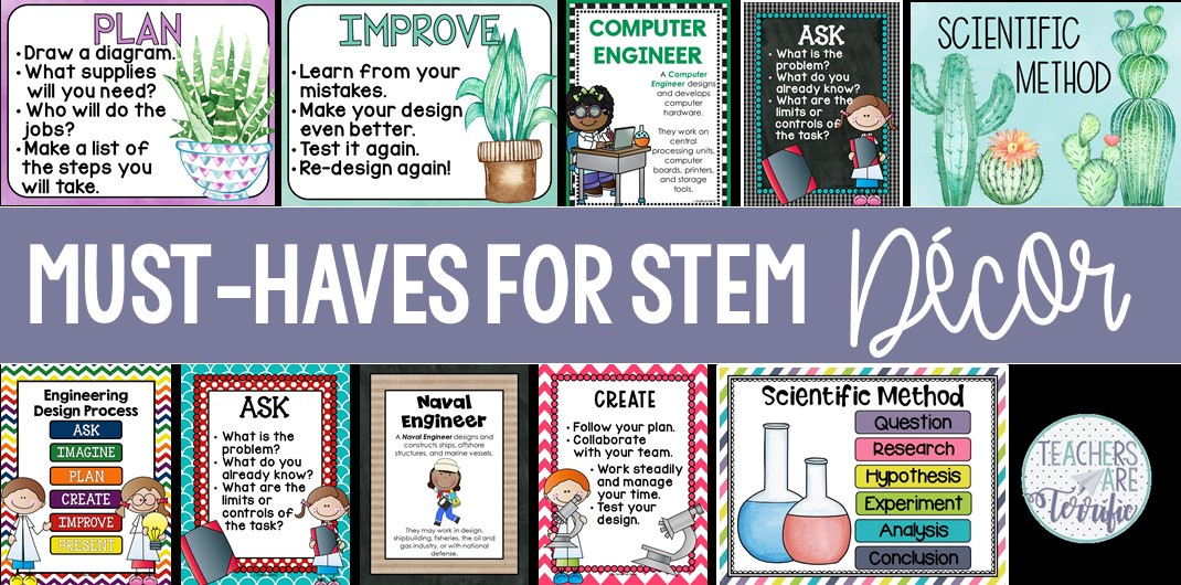 STEM and Science posters are essential to your classroom space. Here's a great way to make decorating easy! Tips in this post and samples of great posters will get you started. #STEM #ScientificMethod #posters