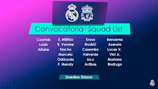 Los Convocados por Zidane para recibir al Liverpool