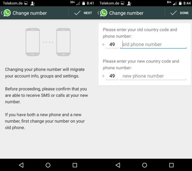 Mengubah nomor telepon Whatsapp