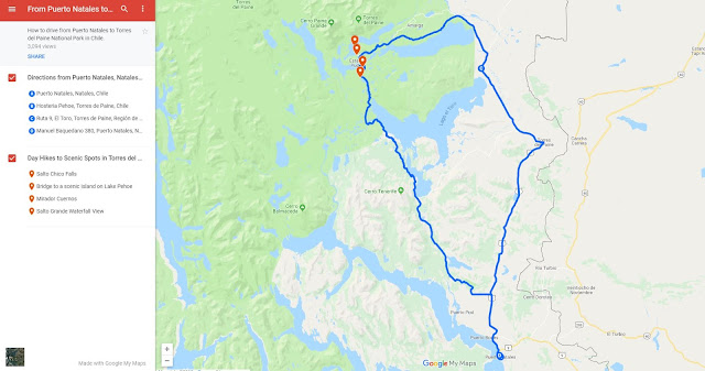 Patagonia map of a self-drive day trip from Puerto Natales to Torres del Paine National Park
