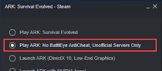 Play ARK: No BattlEye AntiCheat, Unofficial Servers Only