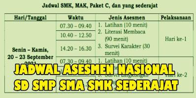 Jadwal dan Alkasi Waktu Pelaksanan Asesmen Nasional (AN) SD/MI SMP/MTs dan SMA/MA Tahun 2021