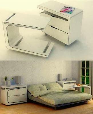 Rekaan Moden, Unik, Kreatif dan Menarik Perabot di Ruang Tamu, Bilik Dan Pejabat - meja tepi katil