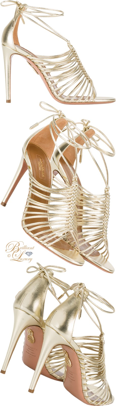 Brilliant Luxury ♦ Aquazzura Nadja gold leather sandals
