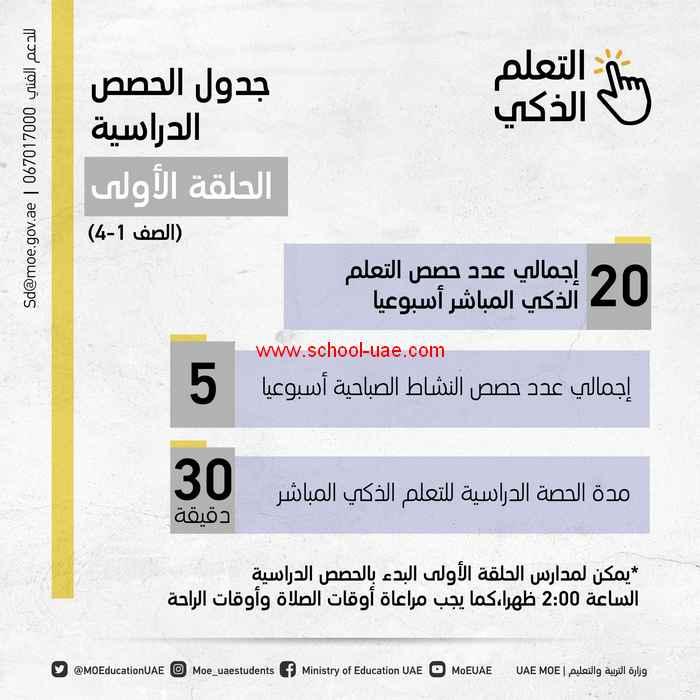 وزارة التربية والتعليم بالامارات تعلن جداول الحصص الدراسية المقررة لما بعد شهر رمضان المبارك