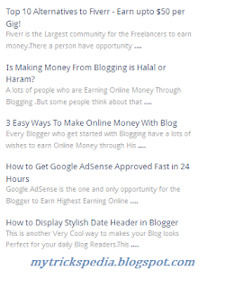 recent posts widget for blogger with title and description