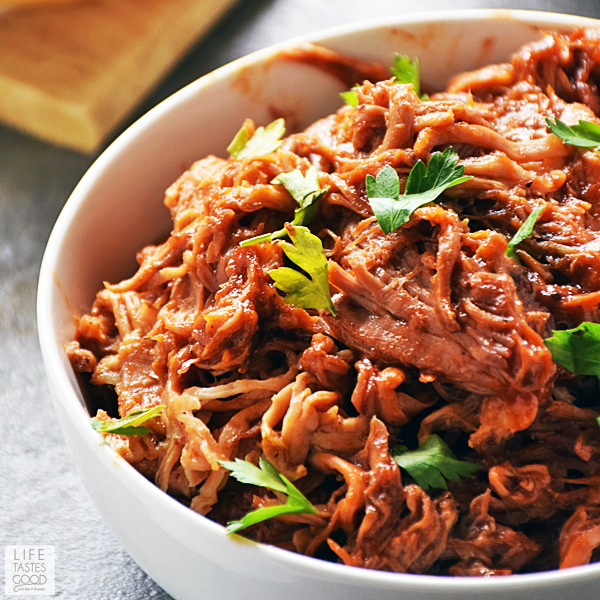 Leftover Slow Cooker BBQ Pulled Pork in a bowl ready to make BBQ Pulled Pork Tacos