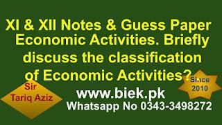 Economic Activities. Briefly discuss the classification of Economic Activities