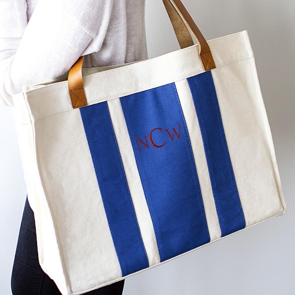 Blue Striped Canvas Tote Bag