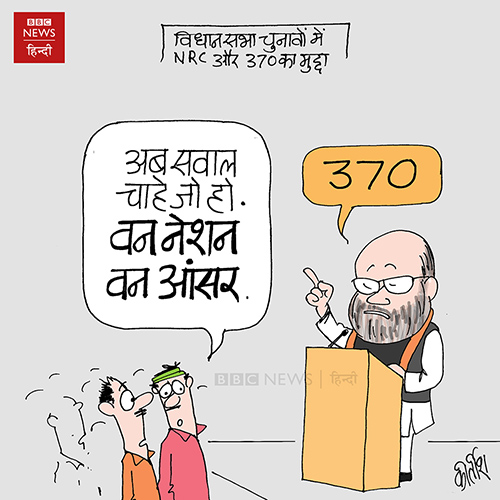 indian political cartoon, cartoons on politics, cartoonist kirtish bhatt, economic slowdown, Article 370 cartoon, amit shah, bjp cartoon