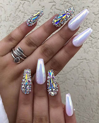 coffin nails rhinestones elegant trendy