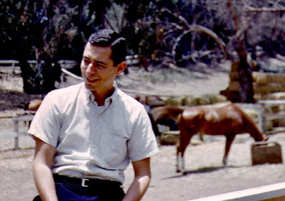 Young man smiling, sitting on a fence in front of a horse