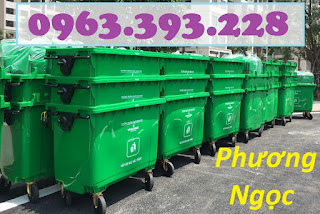 Xe đẩy rác 660 lít 4 bánh, xe gom rác công nghiệp, thùng rác 660L nhựa HDPE XR660L4B6
