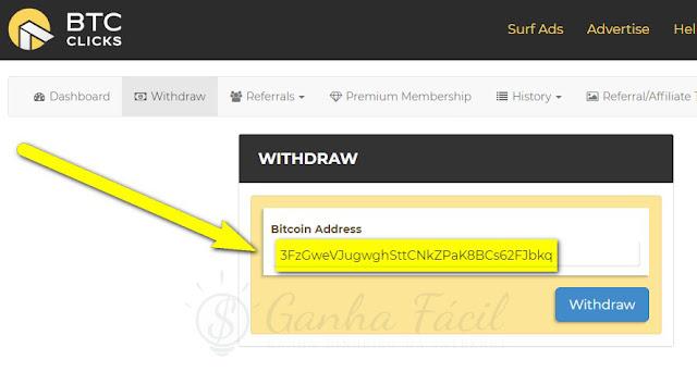 BTCClicks Bitcoin endereço pagamento