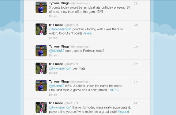 A screenshot showing a conversation between the 'skint' fan and Tyrone Mings on Twitter