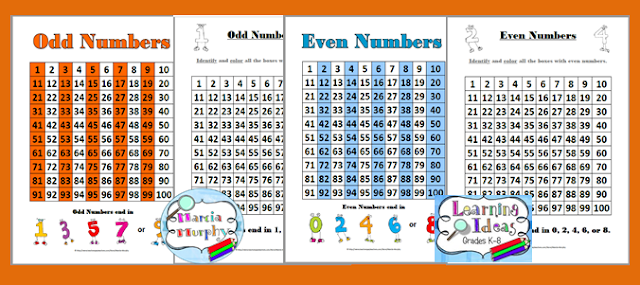 https://www.teacherspayteachers.com/Product/Odd-and-Even-Number-Charts-and-Student-Worksheets-226980