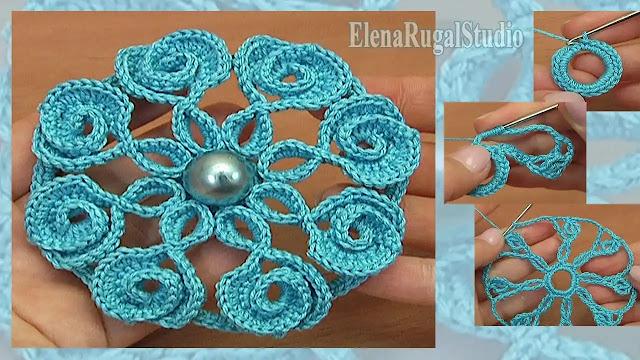Tutorial Flor a Crochet con Pétalos en Punto de Corazones