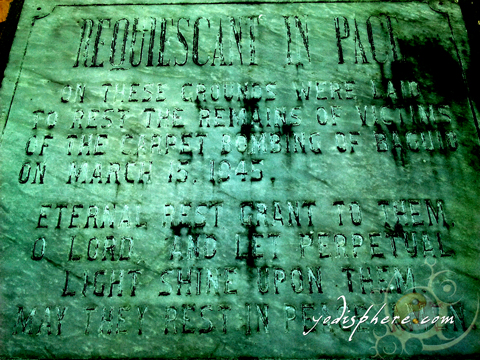 Tomb marker for the victims of World War II buried in Baguio Cathedral