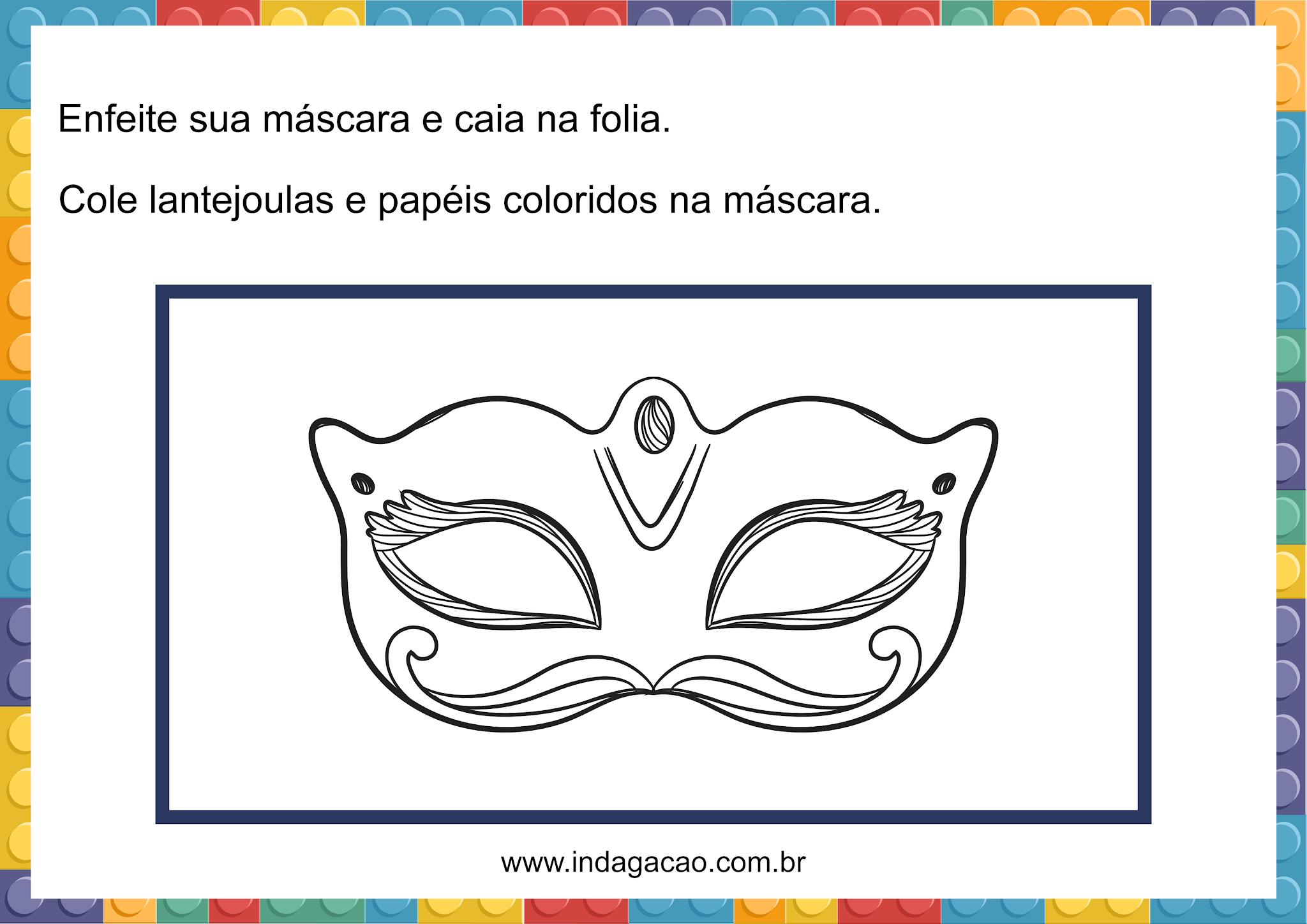 atividade com mascara de carnaval