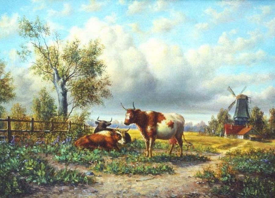 Cuadros modernos pinturas y dibujos nuevos paisajes del campo obras de yuri studenikin - Cuadros de vacas ...