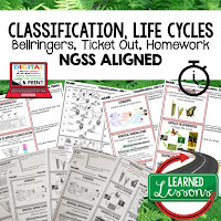 Classification and Life Cycle, LIFE SCIENCE Warm Ups & Bell Ringers, LIFE SCIENCE Use Ticket Out, Homework NGSS 6-8 Science, Print and Digital