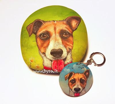 Sassi dipinti portachiavi cani dipinti