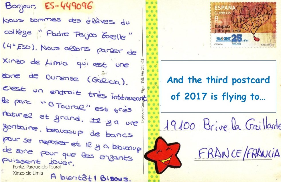 From ourense to the world postcrossing at padre feijoo for Brive la gaillarde code postale