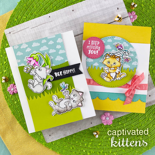 Captivated Kittens card by Jennifer Jackson | Captivated Kittens Stamp Set, Petite Clouds Stencil, Circle Frames Die Set, Banner Trio Die Set and Land Borders Die Set by Newton's Nook Designs #newtonsnook