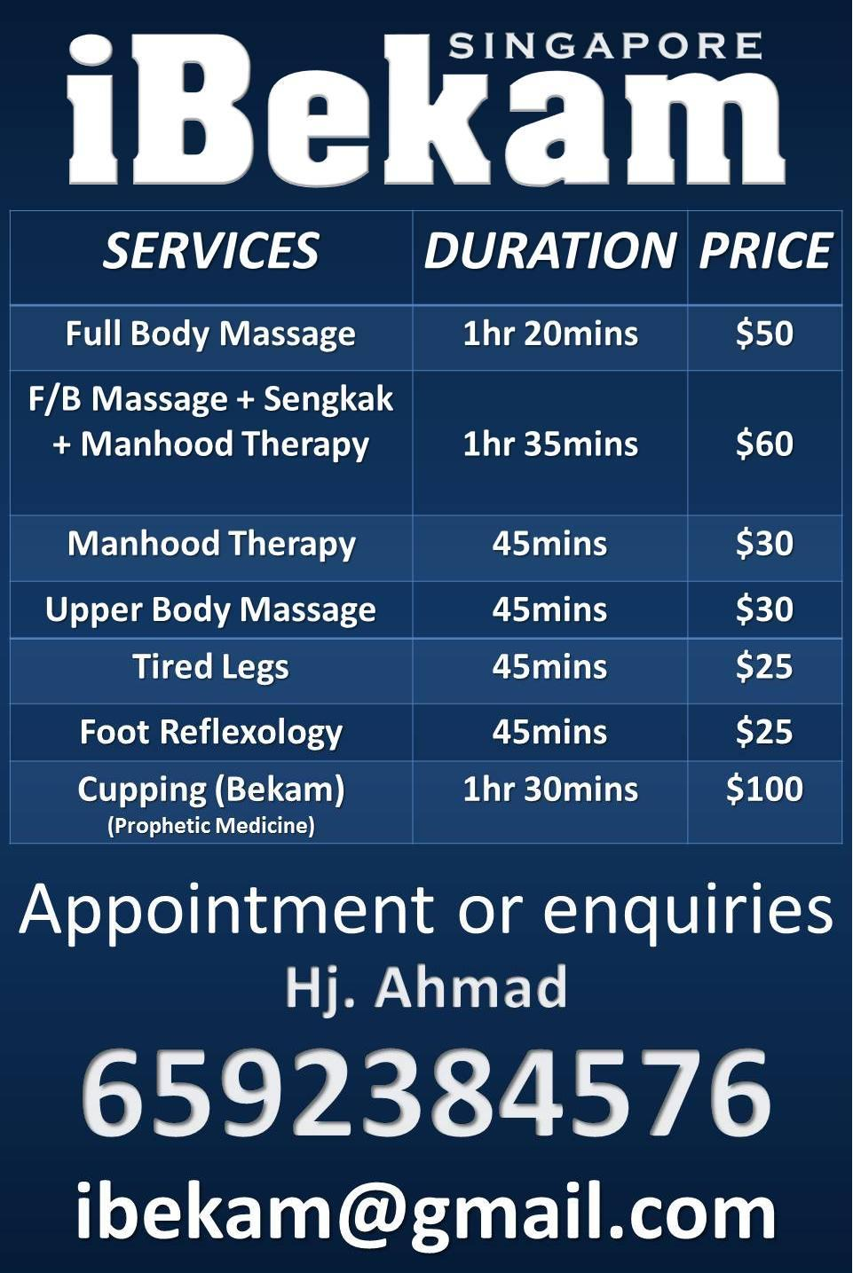 Manhood massage services singapore