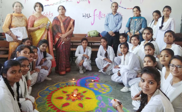 Diwali celebrates by decorating rooms, rangoli, decorated with students in Sarai School