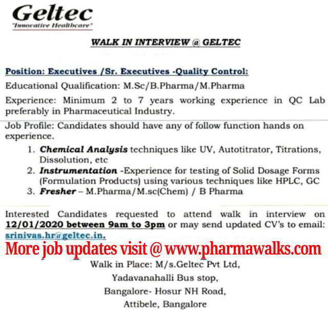 Geltec Pvt Ltd walk-in interview for Freshers and Experienced candidates on 12th Jan' 2020