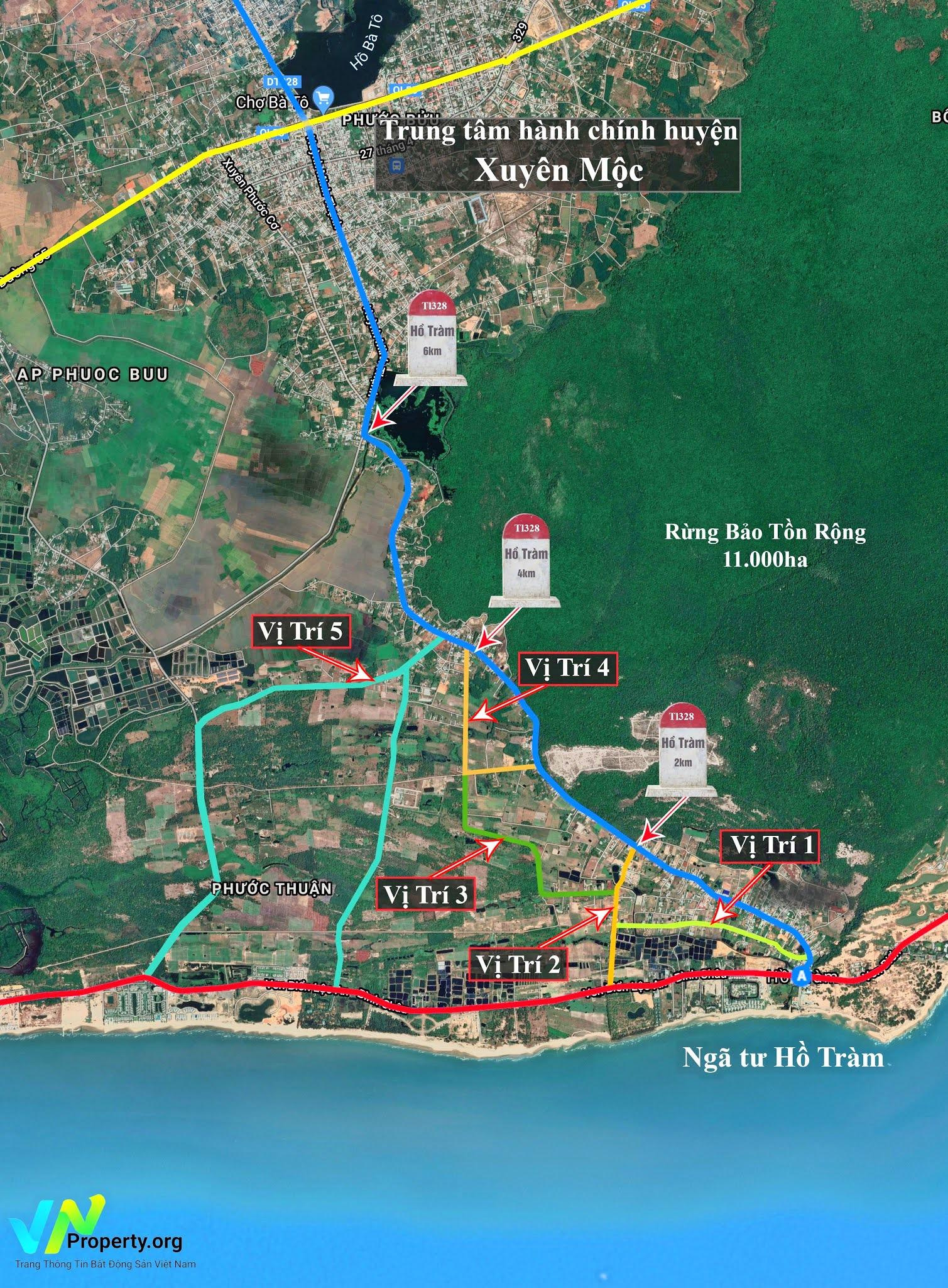 bản đồ vị trí đất Hồ Tràm mặt tiền đường nhánh ODA