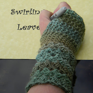 Swirling Leaves Fingerless Gloves by Creative Threads by Leah