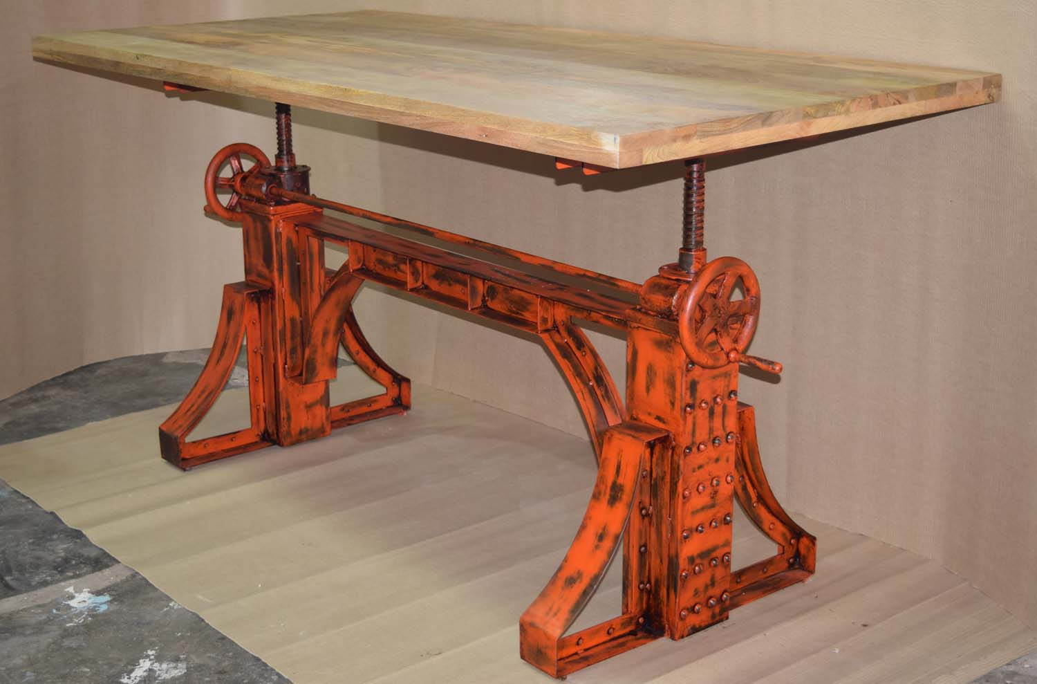 A Red Color Base, Antique Finish With Mango Wood Top, Solid Heavy Base  Weigh Up To 125 Kg. Heavy Mechanic Industrial Table Mango Wood Top