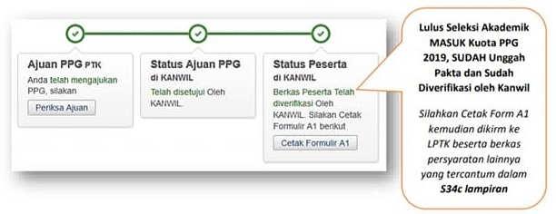 8. Berkas Peserta Telah Diverifikasi oleh Kanwil Silahkan Cetak Formulir A1