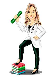 caricatura de formanda em medicina
