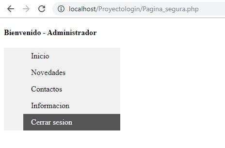 Menú principal login en php y mysql