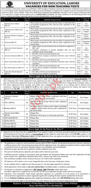 university-of-education-lahore-jobs-2020