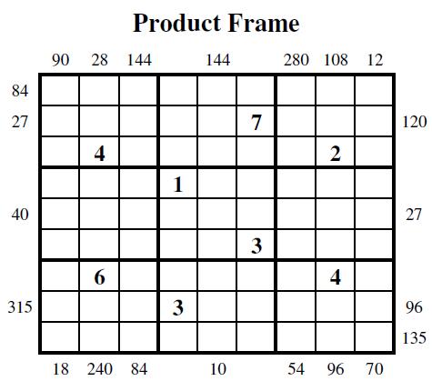 Product Frame Sudoku (Guest Authors Sudoku #4)