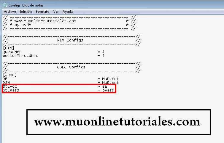 Configurando usuario y password en el eventserver