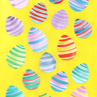 Yellow Easter egg watercolor pattern