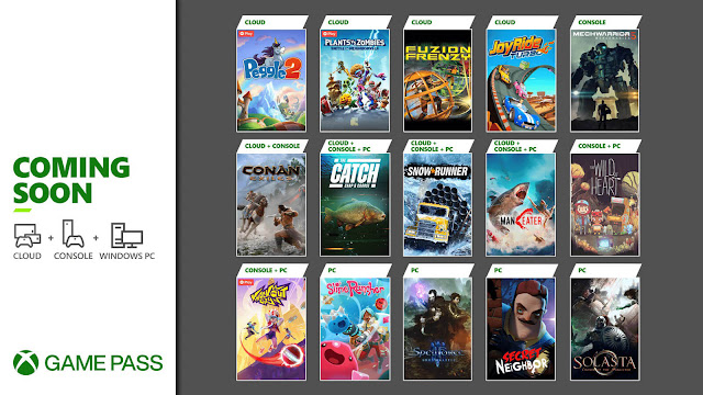 xbox game pass 2021 conan exiles fuzion frenzy joy ride turbo knockout city maneater mechwarrior 5 mercenaries peggle 2 plants vs. zombies battle for neighborville secret neighbor slime rancher snowrunner solasta crown of the magister spellforce 3 soul harvest the catch carp & coarse fishing the wild at heart xb1 xsx
