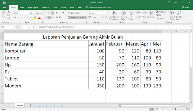 cara membuat tabel di excel di windows 10