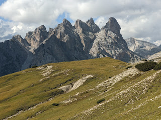 View south from the trail near Rifugio Auronzo in late afternoon.